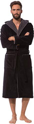 Morgenstern Peignoir de Bain Homme Éponge Lux Coton avec Capuche Taille L Noir 2 Poches et Ceinture Doux, Absorbant et Confort,L,Noir