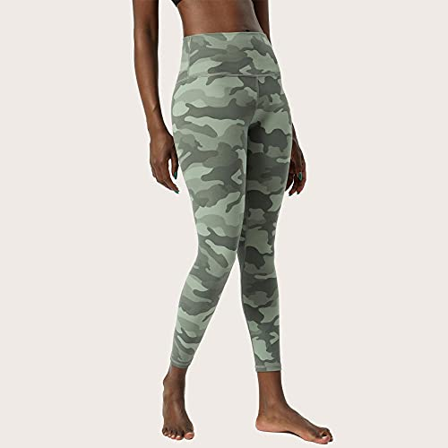 ArcherWlh Leggings Mujer Push Up,Camuflaje Europeo y Americano Yoga Nueve Pantalones Mujeres de Doble Cara Estampado Desnudo, Pantalones de Yoga de Cintura Alta, Pantalones de Fitness-Verdor_L / 10