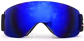 Fashion Men and Women Climbing Snow Goggles Motorcycle Off-Road Household Beautiful Adult Ski Goggles Anti-Fog Sand-Proof Glasses Retro (Color : Blue)