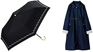 【セット買い】ワールドパーティー(Wpc.) 日傘 折りたたみ傘  ブラック 黒  50cm  レディース 傘袋付き 遮光プチフラワー刺繍 ミニ 801-622 BK+レインコート ポンチョ レインウェア  ねい  free  レディース 収納袋付き R-1090 NV