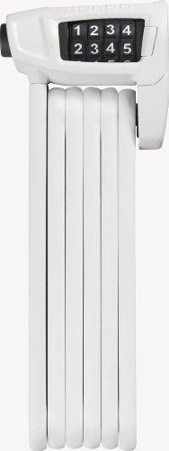 ABUS Faltschloss Bordo Combo Lite 6150/85 mit Tasche - Extra-leichtes Zahlenschloss aus Spezialstahl - ABUS-Sicherheitslevel 6 - 85 cm - Weiß