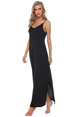 Sykooria Sommerkleid Damen Lang V-Ausschnitt Strandkleider, Freizeitkleid Sexy Nachthemd Damen Ärmelloses mit Seitentaschen, Verstellbare Träger