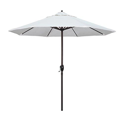 California Umbrella 9' Round Aluminum Market Umbrella, Crank Lift, Auto Tilt, Bronze Pole, White Olefin