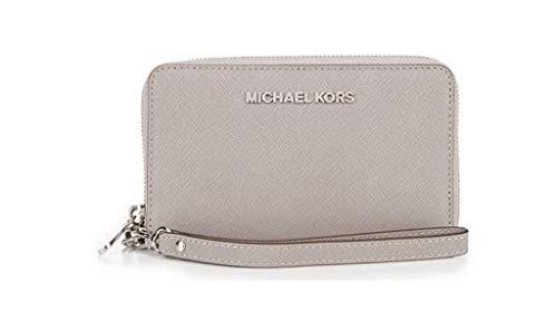 MICHAEL Michael Kors Jet Set Travel Large Flat Multifunction Phone Case in Pearl Grey
