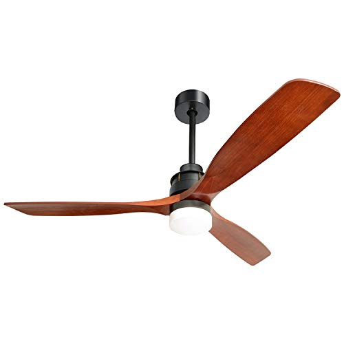 "60"" Modern 3 Blades Ceiling Fan with Remote for Living Room Kitchen Bedroom with Remote without Light, Solid Mahogany and Matte Black"