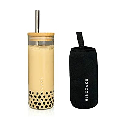 HIROZAKU 24oz Reusable Boba Cup, Eco-Friendly Leakproof Bamboo Lid Tumbler with Straw and Sleek Neoprene Sleeve - Wide Stainless Steel Straw and Cleaning Brush - Smoothie Bubble Tea Gift Set