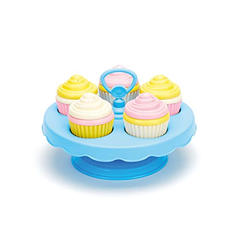 Green Toys Cupcake Set - 16 Piece Pretend Play, Motor Skills, Language & Communication Kids Role Play Toy. No BPA, phthalates, PVC. Dishwasher Safe, Recycled Plastic, Made in USA.