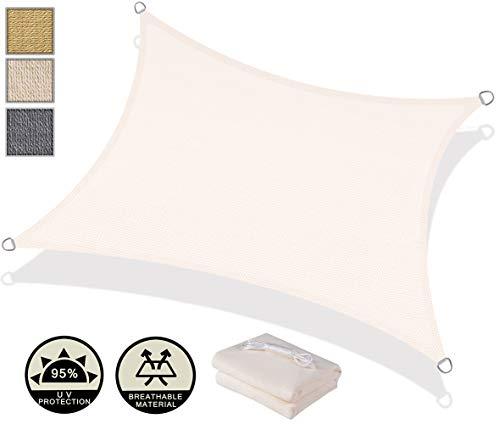 AXT SHADE Sonnensegel Rechteck 3x4m,atmungsaktiv Sonnenschutz HDPE mit UV Schutz für Terrasse, Balkon und Garten- Cremeweiß