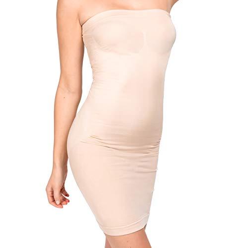 UnsichtBra Shapewear Damen Trägerloses Kleid | Shaping Unterkleid Trägerlos | Bodyformer Shape-Kleid in schwarz, weiß oder beige (sw_3200)(XL,Beige-Mini)