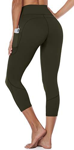Anwell Damen Tummy Control Workout Leggings Jogginghose with Pockets Lange Hose Sport Damen Sporthose Push Up Sporthose Slim Grün XL