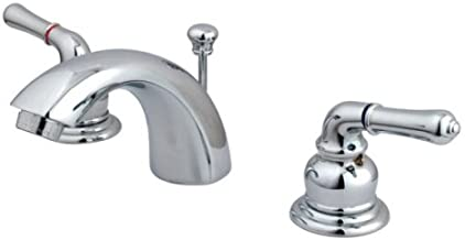 Kingston Brass KB951 Magellan II 4-Inch to 8-Inch Mini Widespread Lavatory Faucet with Metal lever handle, Polished Chrome