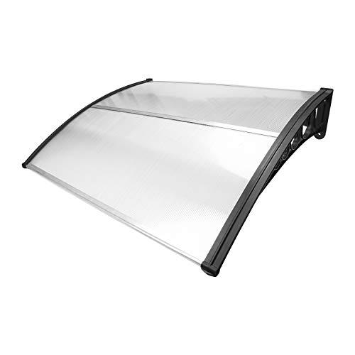 wolketon Vordach für Haustür 150 x 100 cm Pultbogenvordach Transparent Polycarbonat Pultvordach Überdachung 5 mm, PP Halterung,Türdach für draußen Sonnenschutz Regenschutz