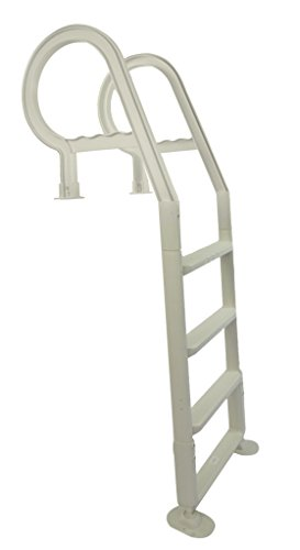 Champlain in-Pool Plastic Ladder for Above Ground Swimming Pools| White | Heavy Duty | Fits 48-54-Inch High Decks | Won
