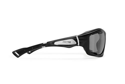 BERTONI Selbsttönenden Sportbrillen Polarisierenden Winddichte Sport Sonnenbrillen für Fahrrad MTB Laufen Radfahren Golf Ski Angeln Wassersport Kitesurk - P1000FT Italy (Matt Schwarz)