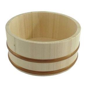木製 湯桶/風呂桶 【小】 タガ:樹脂製 〔バス用品 お風呂グッズ〕