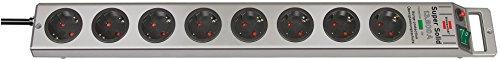Brennenstuhl 80411236902 4er Set Super-Solid Überspannungsschutz-Steckdosenleiste 8-Fach Silber mit Schalter, 1153340318, 4 Stück
