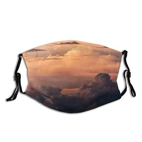 PeeAir Wolken Gesichtsbedeckung Gedrucktes Design Sturmhaube Bandanas Unisex Wiederverwendbarer winddichter Anti-Staub-Mund im Freien mit 1 Filtern