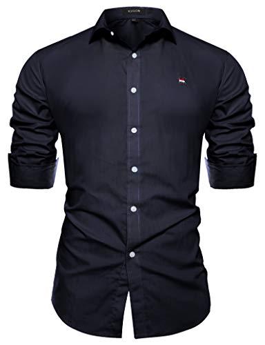Kuson Kuson Herren Business Hemd Slim Fit für Freizeit Hochzeit Reine Farbe Hemden Langarmhemd Navyblau S