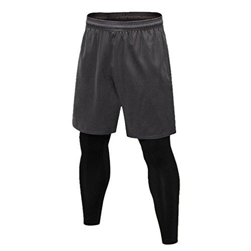 Byqny Herren Sport Quick Dry 2 In 1 Basketball Shorts Kompression Laufhose Hosen