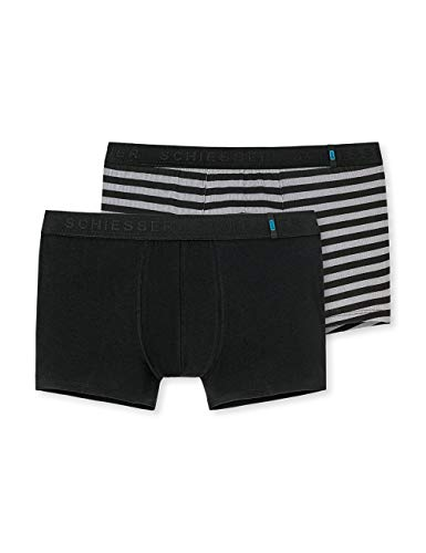 Schiesser Herren 95/5 Short' Boxershorts, Mehrfarbig (Black Sortiert 1 901), Large (2er Pack)