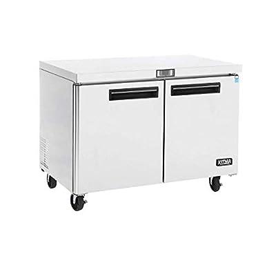 Commercial 2 Door Undercounter Freezer - KITMA 13 Cu. Ft Stainless Steel Worktop Freezer for Kitchen, 0°F - 8°F