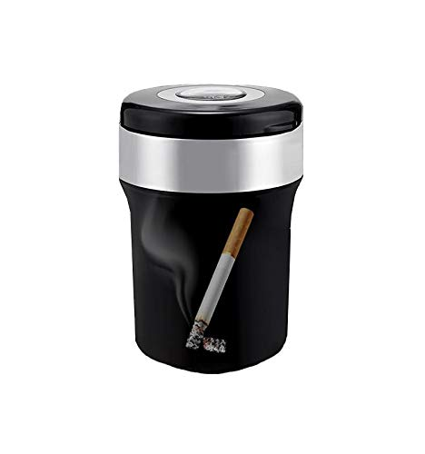 Premium Sainless Steel Car Cigarette Ashtray Holder with Compass Portable Tubular smokeless Car Ash with cap/cover