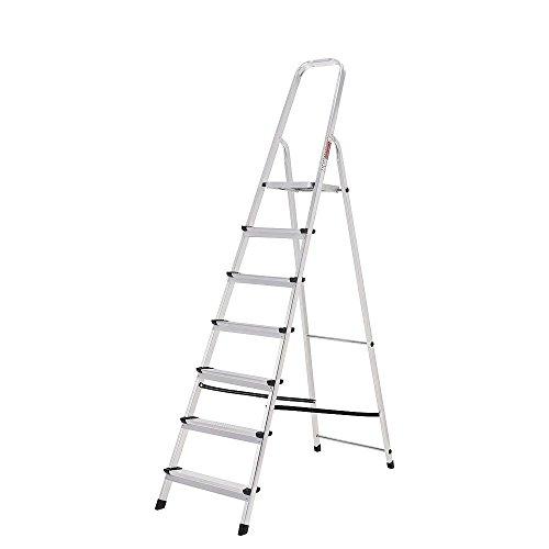 ORYX 23010007 Escalera Aluminio 7 Peldaños Plegable, Uso doméstico, Antideslizante, Ligera y Resistente