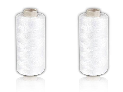 Helmecke & Hoffmann * 2 x weiße Nähgarn-Spulen 500 m Faden | Polyester-Nähmaschinengarn auf umweltfreundlicher Papp-Rolle