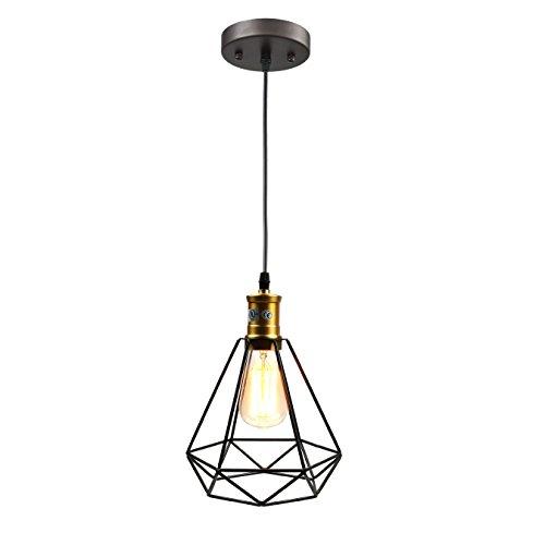 Pauwer Alambre Colgante Iluminación de la Industria Vintage Edison - Lámpara de Techo Jaula Sombra, Negro 60.00W 220.00V