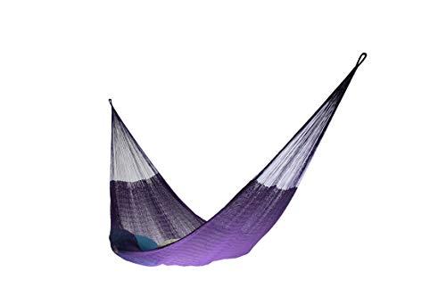 Matrimonial Size Cotton Hammock (Purple) Handmade in Mexico Genuine Mayan Hammock Ideal for 2 people