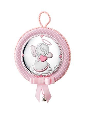 DOCOLASTRA Medalla personalizada de cuna ó cochecito Musical, con cascabel y Angel de la Guarda rosa EN PLATA BILAMINADA.