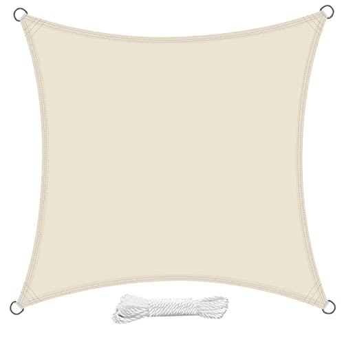 swift Toldo Vela de Sombra Cuadrado 5x5 Metro PES Impermeable Protección Rayos UV para Patio Exteriores Jardín, Color Crema