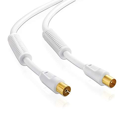 Antennenkabel | 2,5m | 75 Ohm | 110 db | 4fach geschirmt | Koax Stecker > Koax Kupplung | Koaxialkabel Anschlusskabel | TV HDTV Radio DVB-T DVB-T2 DAB | 2X Ferritkern | weiß | 2,5 Meter