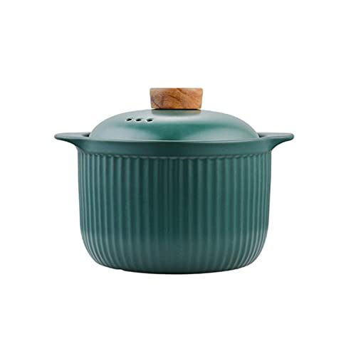 TIYKI Bratpfanne Suppentopf Crock Pot Auflauf Keramikkasserolle Suppentopf Hochtemperaturbeständige Kochpfanne Für Gasherd Suppentopf Bratpfanne (Kapazität: Klein Grün)