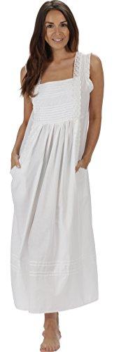 The 1 for U 100% Baumwolle Nachthemd mit Taschen Damen Viktorianisches Stil Rebecca - Weiß, XXL