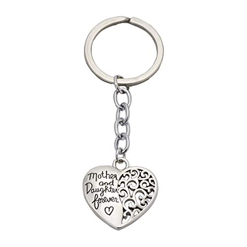 AKAIDE The Love Between Mother and Daughter is Forever Heart Shape Pendant Key Ring Key Chain Mothers Day Gifts (mother&daughter#02)