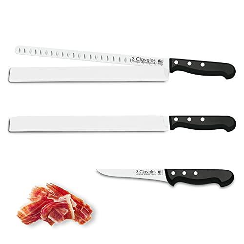 Juego de Cuchillos Profesionales 3 Claveles Selección Master Chef, Jamonero Alveolado 29 cm,...