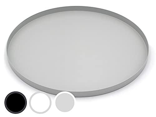 D&D Living Bandeja decorativa redonda de 40 cm de diámetro | Platos decorativos y bandeja decorativa de metal (gris mate) (Parent)