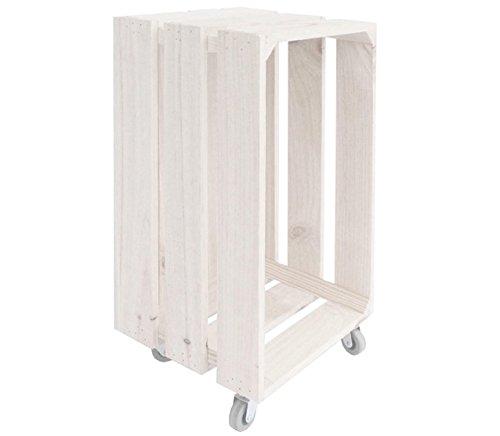 Caja Madera Blanca con Ruedas 25 x 30 x 50 centímetros Ref.1133 - LuxoMobel: Amazon.es: Hogar
