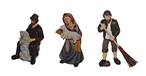 Krippenfiguren 3-TLG. Set Polyresin Krippe Figuren ca. 11 cm 3er Set Hof-Knecht mit Reisig-Besen Schaf-Hirte mit Schaf Hirtin mit Schaf