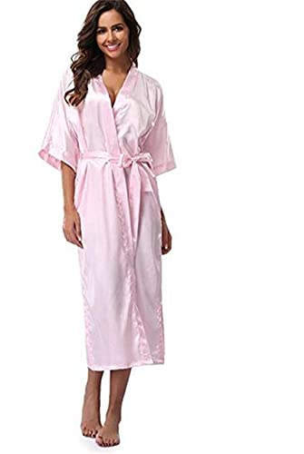 IAMZHL Bata de Dama de Honor Larga de satén de Seda para Mujer, Bata de Kimono, Bata de baño Femenina, Bata de baño de Talla Grande XXXL, Bata Sexy para Mujer-pink-1-XL