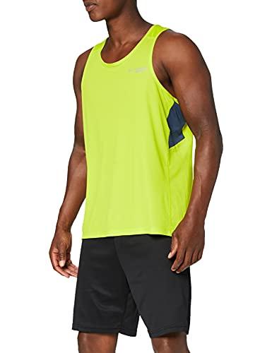 Columbia Hombre Camiseta de tirantes, Titan Ultra Running Tank, Poliéster, Amarillo (Zour/Zinc),...