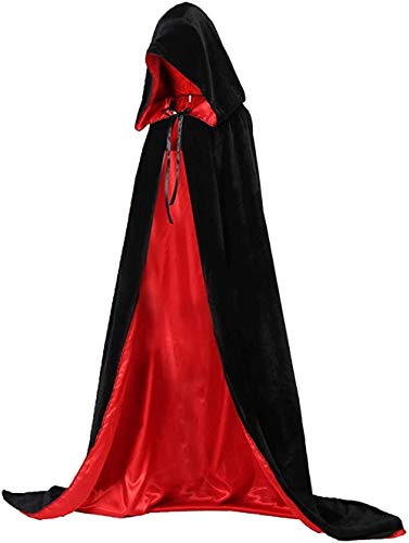 Vampir Umhang, Halloween Kostüme Kapuze Wendeumhang Schwarz Rot für Kinder oder Erwachsene Dracula Cosplay Party (Large-140CM Erwachsene)