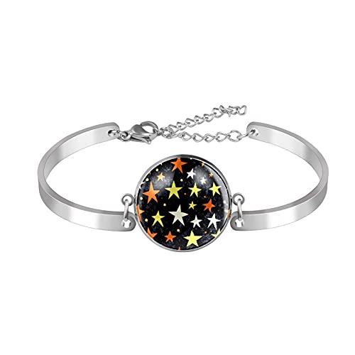 Pulseras para mujeres y niñas de acero inoxidable Dainty Link pulsera ajustable brazalete amarillo blanco naranja estrella patrón noche