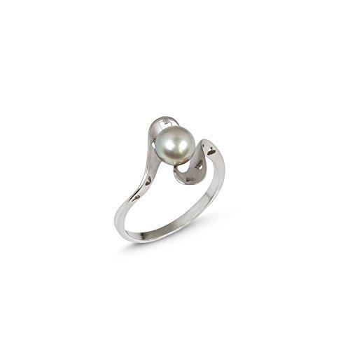 Herz Ring mit behandelt Milano schwarz japanische Akoya Perlen
