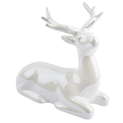 Deko-Figur aus hochwertigem Keramik | Porzellan-Optik mit Perlmuttlack (Hirsch liegend | 15 cm lang)