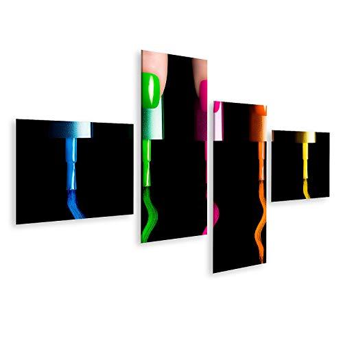 islandburner Cuadro en Lienzo Cinco Dedos con Cinco Pinceles de Esmalte de uñas Pintura en Colores de flúor Manicura y Nail Art Concept Cl Cuadros Modernos Decoracion Impresión Salon