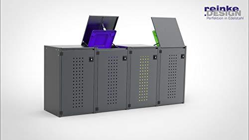 reinkedesign Mülltonnenbox Boxxi aus Aluminium in Anthrazit RAL 7016 als Bausatz (4 x 120l, Kippdach)