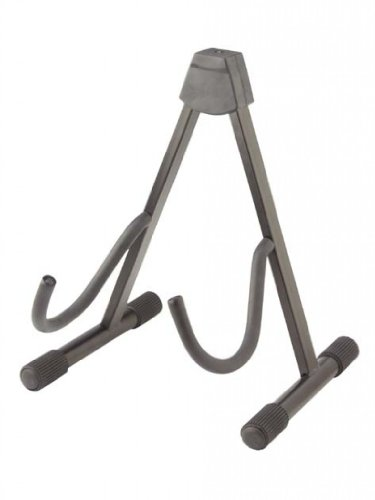 Stagg SG-A107BK Foldable A Stand for Acoustic, Electric, Bass Guitar with Two Cradling Hooks & Back Rest - Black