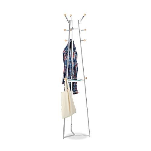 Relaxdays kapstok chroom, jasstandaard, staande garderobe, boom, 12 haken, met plank, HBT 181x42x42 cm, zilver
